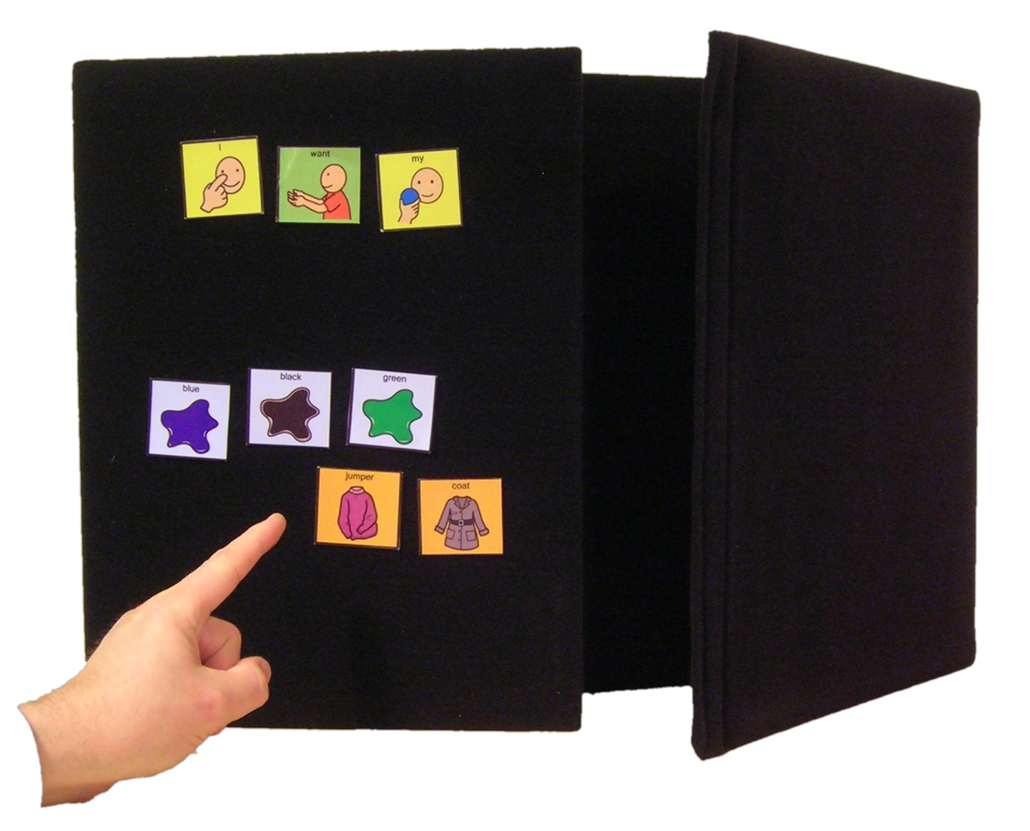 Ability World tri-fold A2 landscape communication / choice board or portable display board
